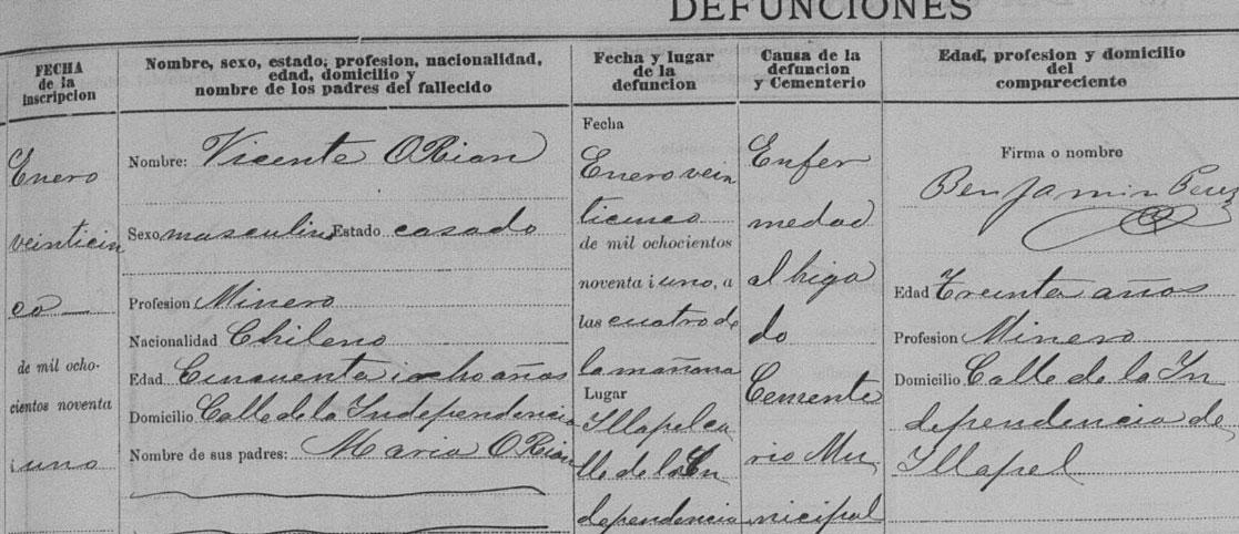 Registro de defunción de Vicente O'Ryan.
